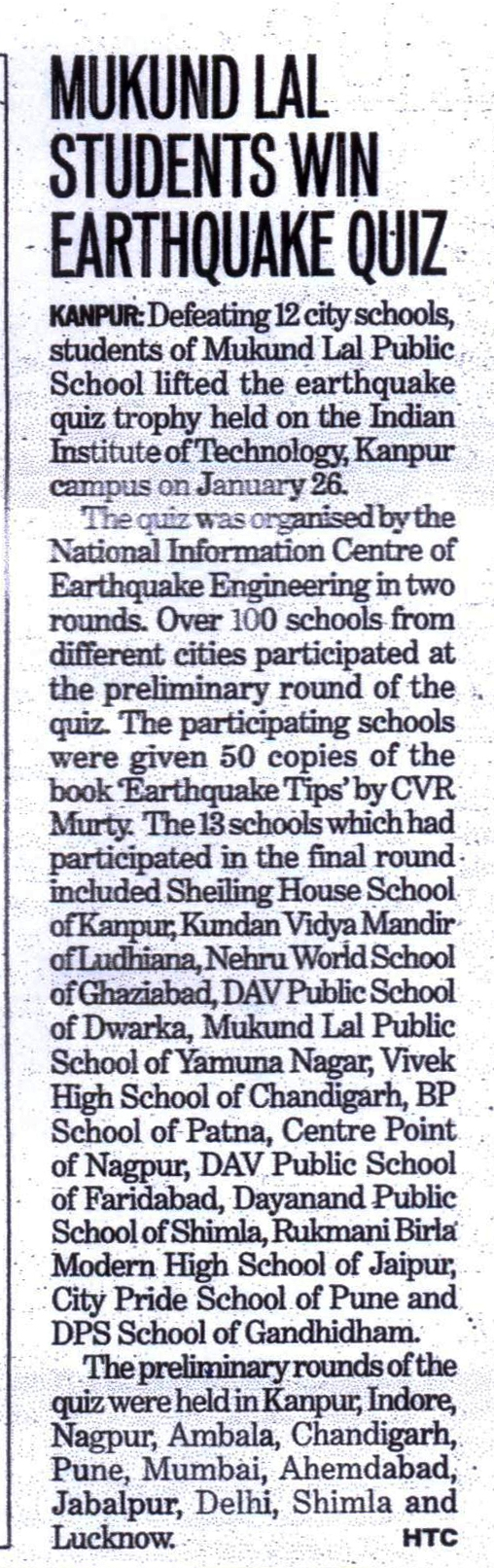 Inter School Quiz Competition on Earthquake Tips